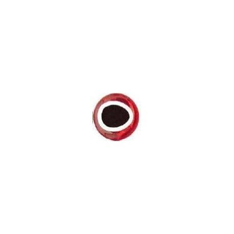 Nouveaux Yeux 3D pupille oblongue 5 mm (plaquette de 28 unités) coloris rouge / silver