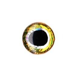 Nouveaux Yeux 3D pupille oblongue 10 mm (plaquette de 20 unités) coloris gold / silver