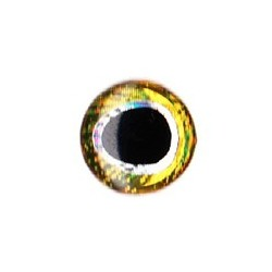 3D eyes oval pupill 10 mm gold / silver (20 pcs)