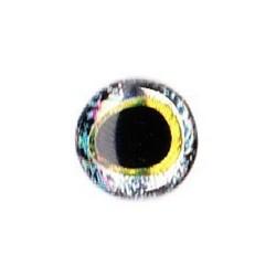 Nouveaux Yeux 3D pupille oblongue 6 mm (plaquette de 28 unités) coloris silver / gold