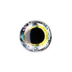3D eyes oval pupille 10 mm (20 units) color silver / gold
